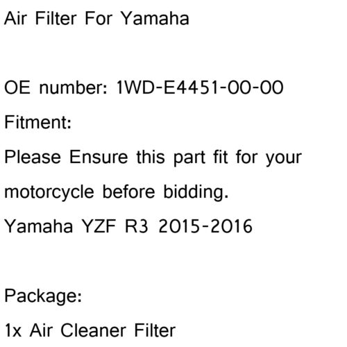 OEM Replacement Air Intake Filter Fit for Yamaha YZF R3 2015-2016 A  UA