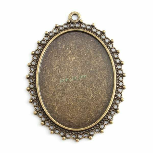 6x 143642 New Alloy Charm Oval Laced Blank Frame Antique Bronze Pendant 54x40mm