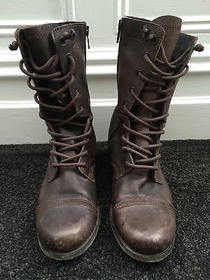 All Saints brown distressed women's military boots size 38
