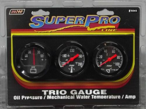Super Pro 2 Inch Mechanical Triple Gauge Kit Black Black Bezel #5045
