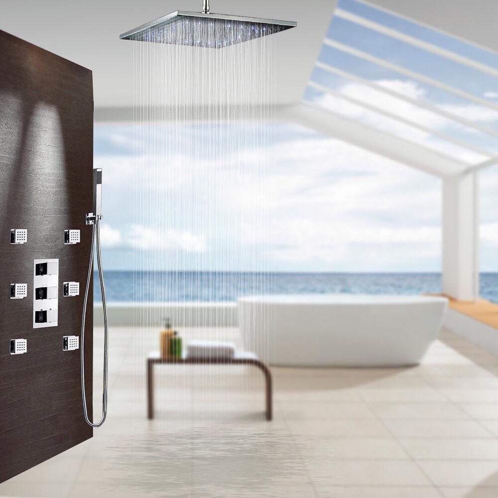 6pcs Massage Jet 20  DEL tête de douche thermostatique avec salle de bains robinet douche Set