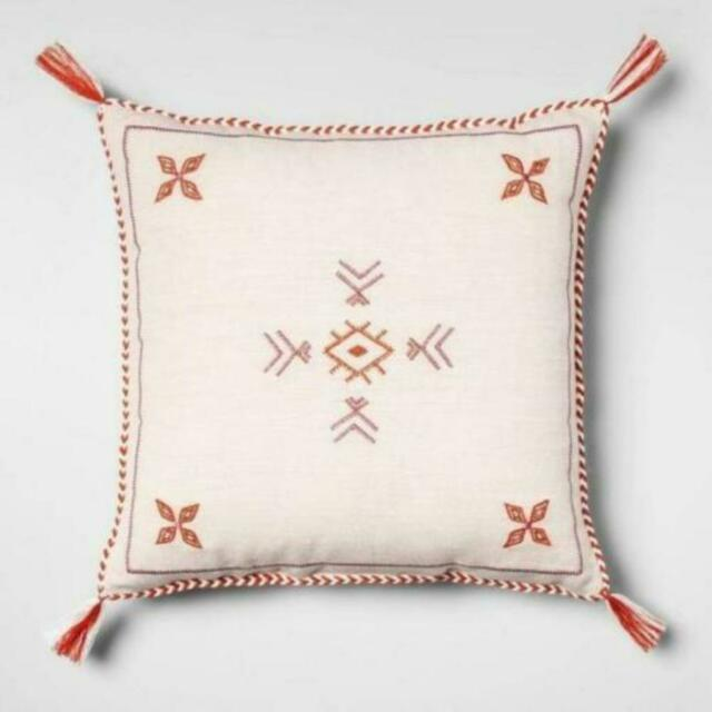 Cream Red Global Square Throw Pillow