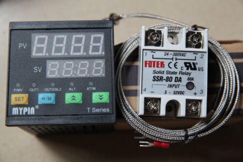 K Sensor 80A SSR Digital F//C PID Thermostat Temperature Controller TA4-SSR