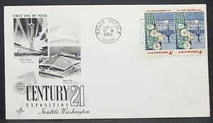 US-Art-Craft-Cachet-Cover-FDC-Space-Needle-Arizona-Pair-4c-USA-Letter-Y-304