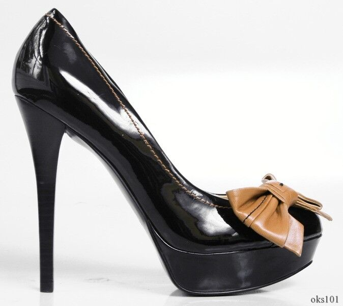 New GUESS 'Caylee' black black black LARGE BOW platforms heels shoes - very pretty 800612
