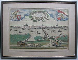 Kampen-Overijssel-Niederlande-altkolor-Orig-Kupferstich-Braun-Hogenberg-1581