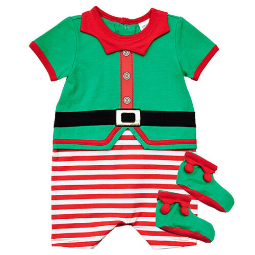 NWT Target Baby Girls Boys Christmas Elf Romper Jumpsuit Booties Set Size 00 0