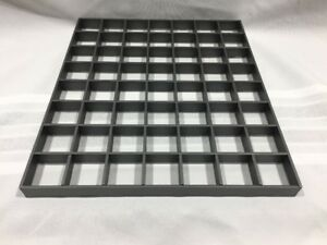 11-5x10x-75-034-GRAY-FLAT-JEWELRY-COUNTER-TOP-DISPLAY-TRAY-56-SLOTS-CLEAR-BOTTOM