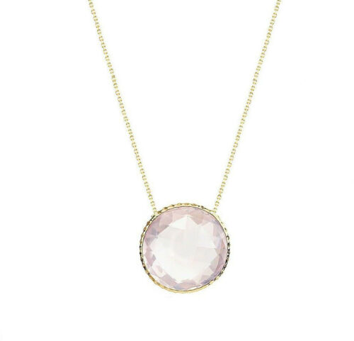 14K Yellow Gold Gemstone Necklace With A Rose Quartz Solitaire 18 Inches