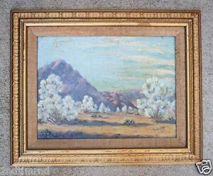 Vintage-Original-Signed-Framed-Oil-Painting-Desert-Landscape-in-Bloom-c1960s