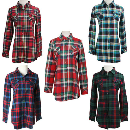 Oversized Women Campus Plaid Check/&Flannel Tartan Shirts Button Down Tops Blouse