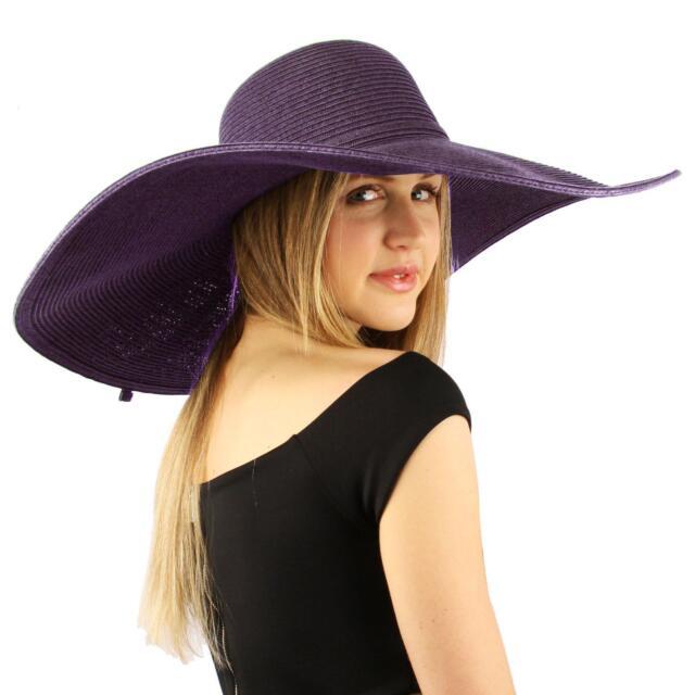 """Summer Elegant Derby Big Super Wide Brim 8"""" Brim Floppy Sun Dress Hat Purple"""