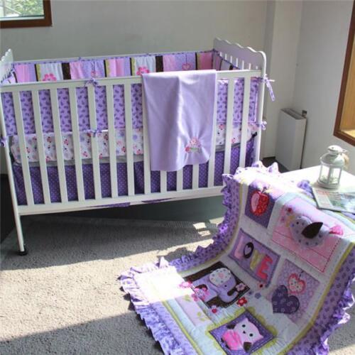 3D Elephant Owl Flower Baby Crib Quilt Bumper Sheet Skirt Blanket Bedding Sets @