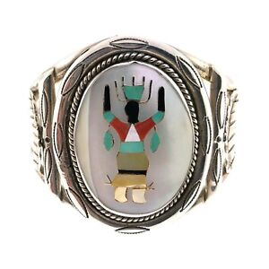 f9f3e140fb6 Image is loading Navajo-Sterling-Silver-Kachina-Multi-Stone-Mother-of-