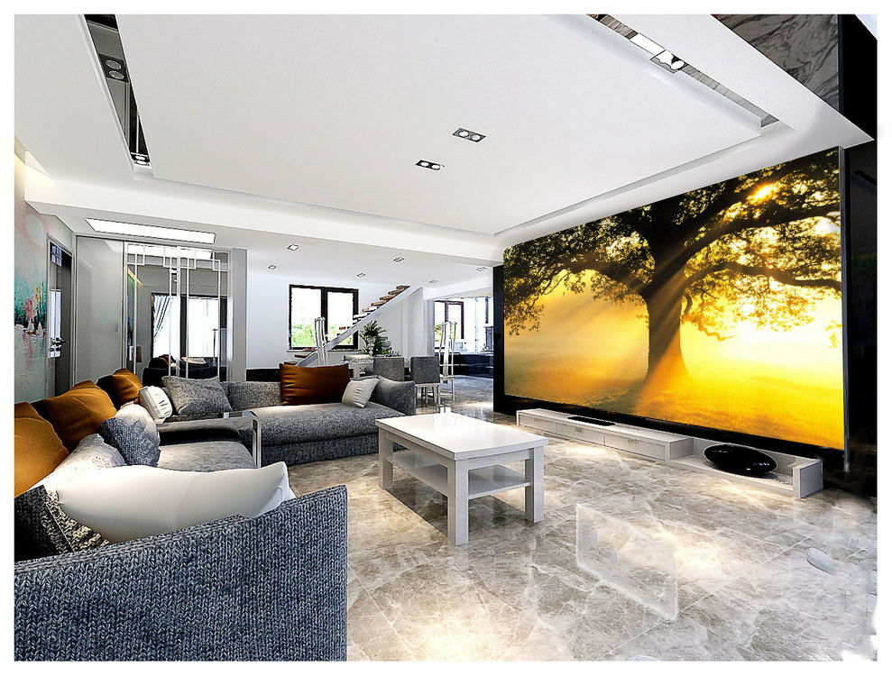 3D Golden Light Tree 5 Wall Paper Wall Print Decal Wall Deco Indoor Mural Sunmer