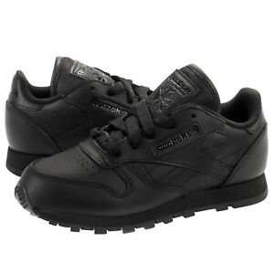 separation shoes b2d9d 6832e Image is loading Reebok-Classic-Leather-J90143-Triple-Black-Little-Kids-