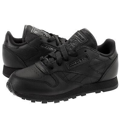 Reebok Classic Leather # J90143 Triple Black Little Kids Pre School SZ 10.5-3
