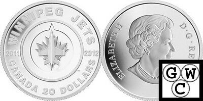 2011-2012 Proof $20 Winnipeg Jets Canada twenty dollars .9999 silver