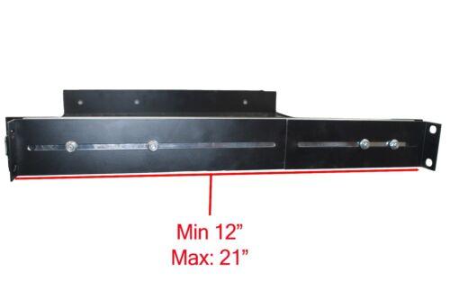 """2 PACK 1U Sliding Server Shelf 19/"""" Rack Panel Adjustable Mount Drawer 12/""""-21/"""""""