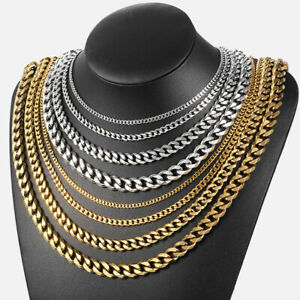 3-5-7-9-11mm-Stainless-Steel-Silver-Gold-Men-Cuban-Link-Necklace-Chain-18-24inch