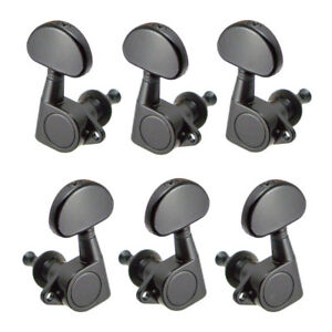 6x iron acoustic guitar replacement closed machine heads tuners 3l3r black ebay. Black Bedroom Furniture Sets. Home Design Ideas