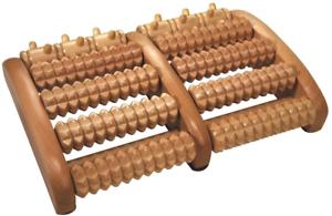 Croll-amp-Denecke-Fussroller-aus-Holz-2-x-5-Rollen-Fuss-Massage-Geraet-Dual-Roller