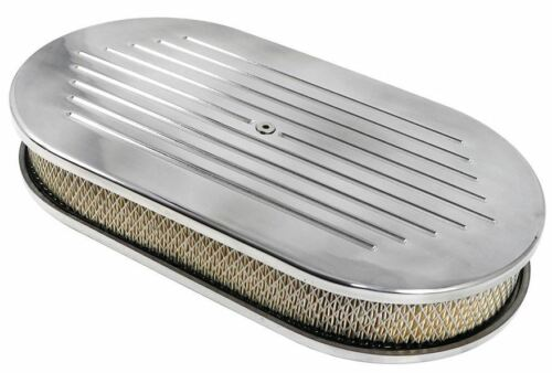 Billet Polished Aluminum Ball Milled Oval Air Cleaner W/ Paper Filter 15 X 2