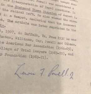 Lewis F. Powell Jr. Supreme Court Signed Typed One Page Biography