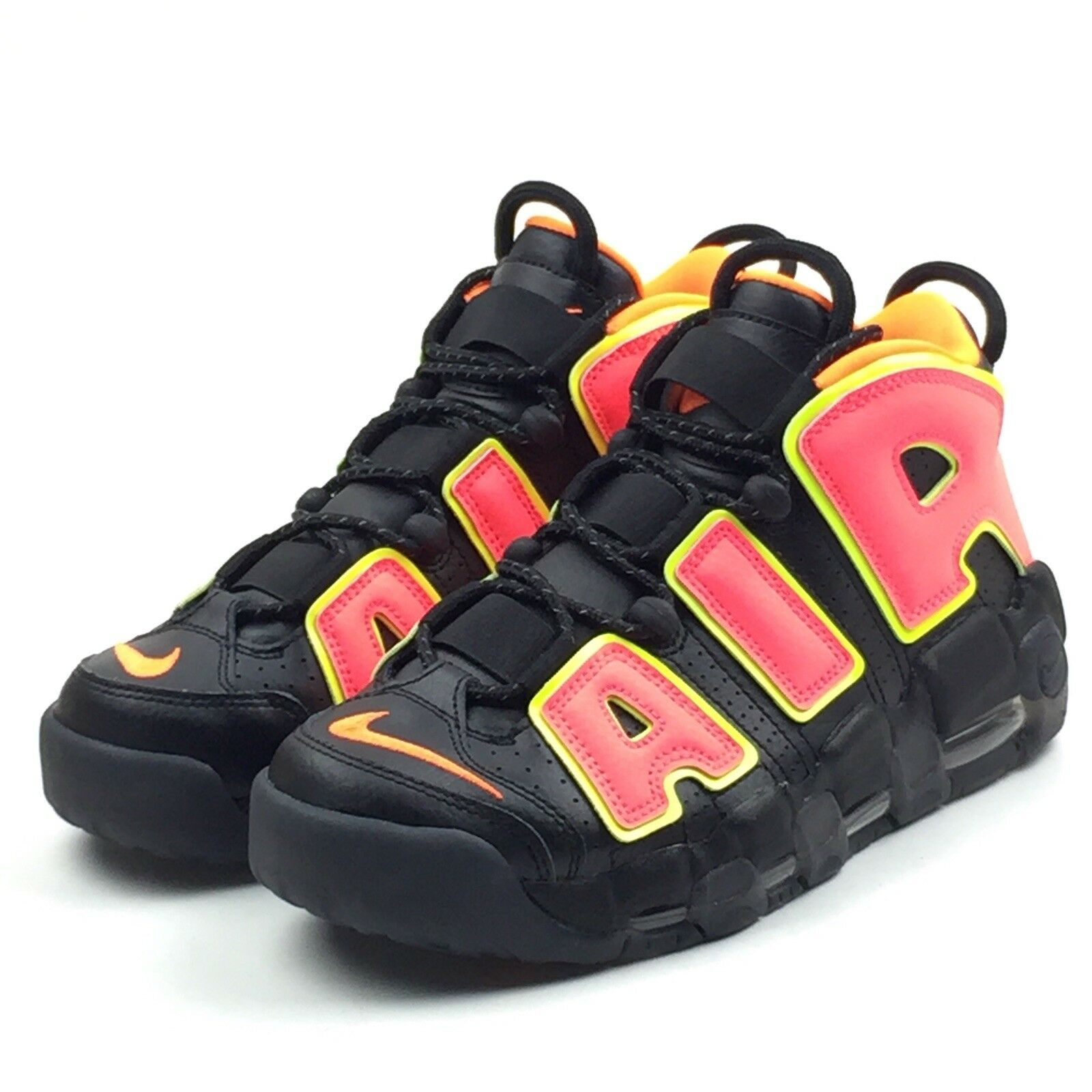 Nike Air More Uptempo Womens Black Hot Punch Volt Pippen Size 8.5 917593-002 New