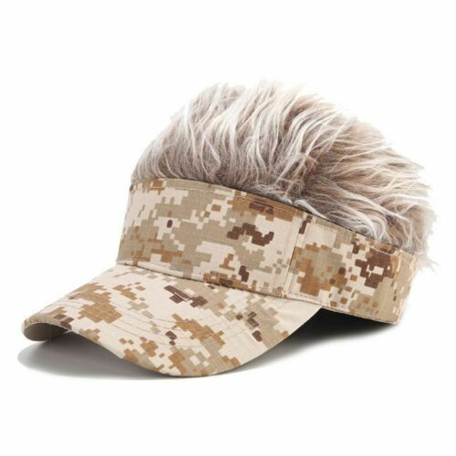 Mens Novelty Sun Visor Cap with Spiked Fake Hair Camouflage Print Hat Hip Hop