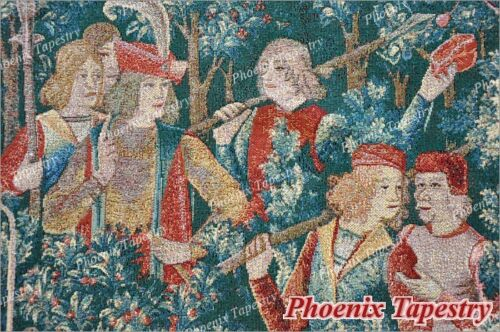 """LARGE Hunt of the Unicorn Medieval Art Tapestry Wall Hanging Cotton 100/% 55/""""x54/"""""""