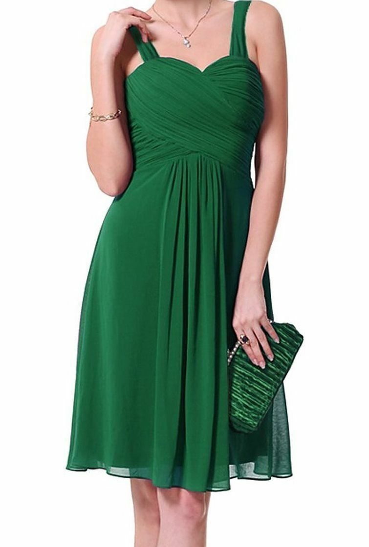 Women's Ruffles Chiffon Sleeveless Elegant Cocktail Party Dress Green, NEW 6