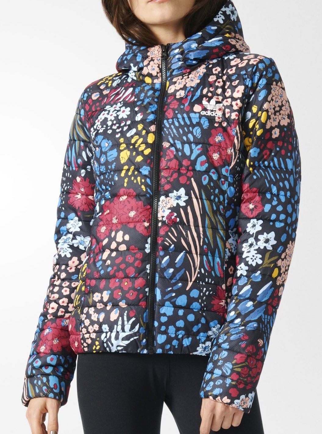 Adidas X Women's Slim Floral Print Jacket, AY4746, Multicolored, US Size XS