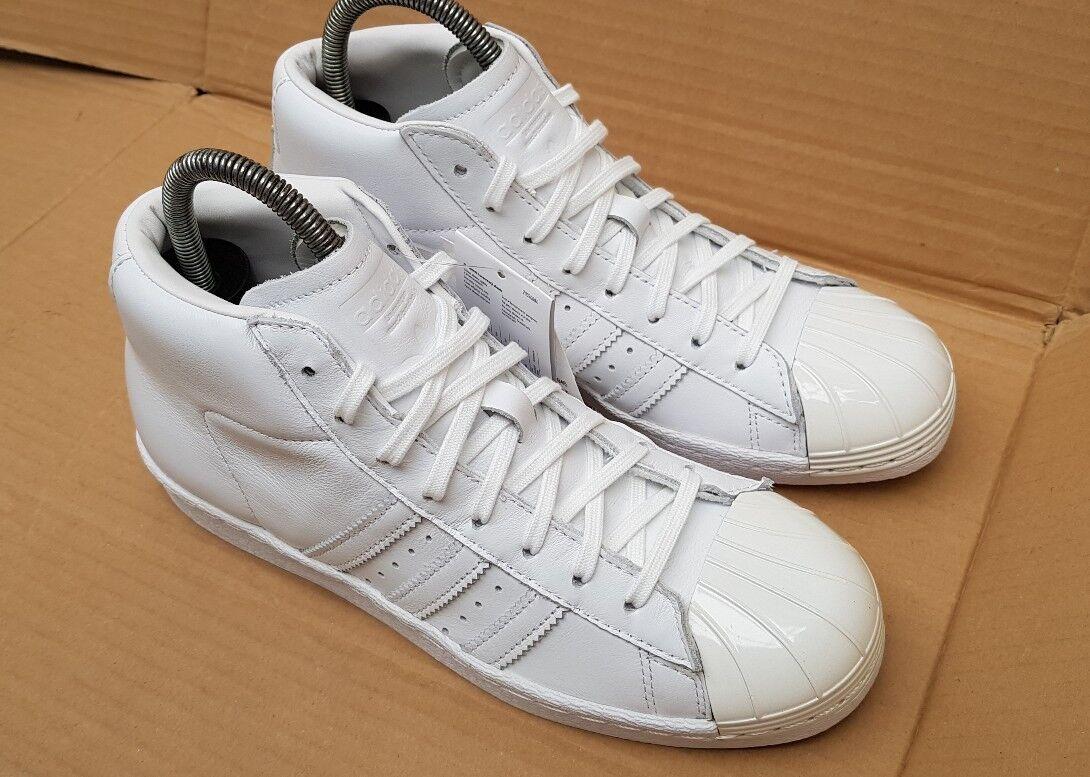 NUOVO con scatola adidas Superstar anni'80 PRO PRO PRO MODELLO scarpe da ginnastica ALTE MISURA 4.5 Regno Unito Bianco Lucido Toe 597675