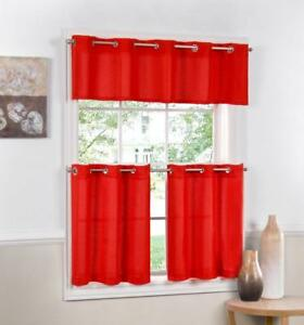 Details About Jackson Textured Solid Red Kitchen Curtain Choice Tiers Or Valance