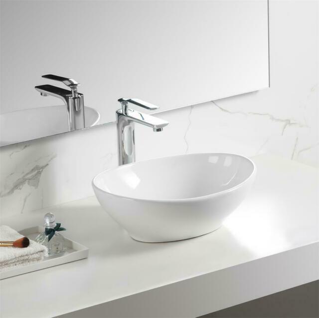 Walcut Usbr1027 Oval Bathroom Vessel Sink Bowl With Faucet White For Sale Online Ebay