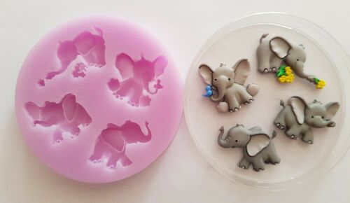 CLAY ETC ELEPHANTS SILICONE MOULD FOR CAKE TOPPERS CHOCOLATE