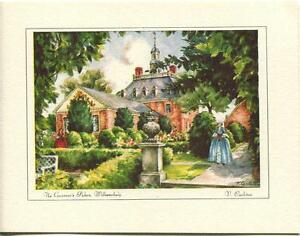 VINTAGE-VIRGINIA-WILLIAMSBURG-GARDEN-GOVERNOR-PALACE-PRINT-1-TROUT-FISH-ART-CARD