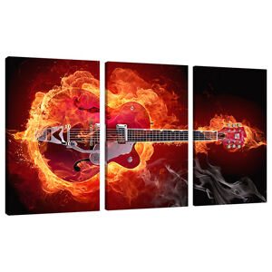 three picture modern red canvas art wall prints boys room guitars