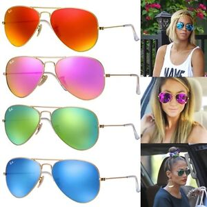 pink ray ban aviators  NEW Ray-Ban Aviator RB3025 Flash Green Blue Orange Pink Mirror ...