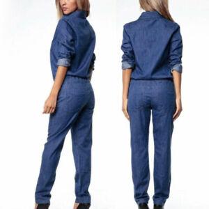 Damen-Jeans-Freizeit-Arbeit-Latzhose-Locker-Revers-Kragen-Strampler-Langaermlig