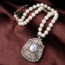 Vintage Gold Crystal Pave Cluster Leaf Pendant Necklace Pearl Oval Rhinestone