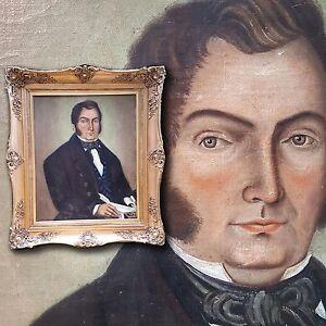 Franzoesisches-XL-Biedermeier-Portrait-1845-Antikes-Herrenportrait-Prunkrahmen