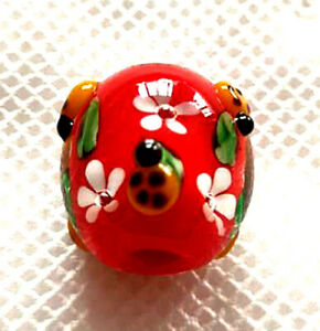 10pcs-handmade-Lampwork-glass-round-Beads-flower-14mm-red-ladybug
