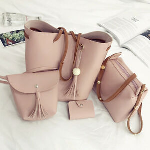 4pcs-Women-PU-Leather-Handbag-Shoulder-Bag-Tote-Purse-Messenger-Satchel-Clutch