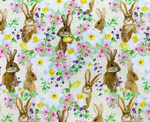 100/% Algodón Tela Flores de primavera material de la tela impresión /& liebre Metro de artesanía