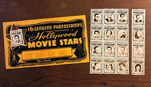 RARE-Set-of-16-Vintage-HOLLYWOOD-MOVIE-STARS-STAMPS-WITH-ORIGINAL-ENVELOPE-OG-H