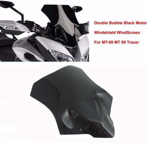 Black Double Bubble Windshield WindScreen for Yamaha MT-09 Tracer// FJ 09 2015-16