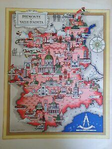 La Cartina Del Piemonte.50 Vecchia Cartina Piemonte Asti Sestriere Barolo Saluzzo Savigliano Alba Ebay