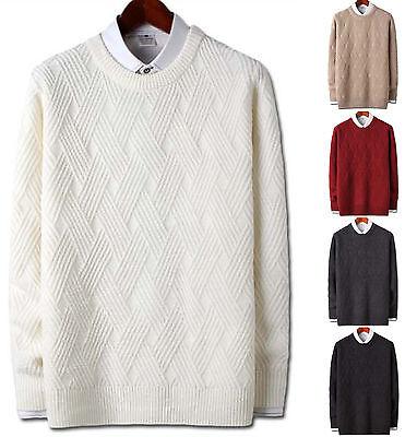 New Mens Stylish Diagonal Round Crewneck Knit Sweater Cardigan Jumper W013 S//M